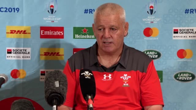 welsh rugby union chief executive martyn phillips and wales head coach warren gatland at a press conference in the rihga royal hotel, kitakyushu,... - fukuoka prefecture stock videos & royalty-free footage