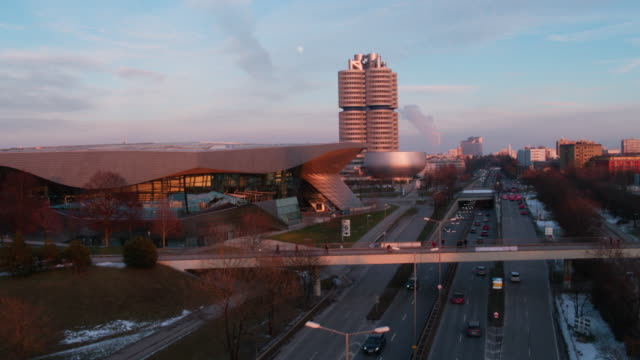bmw welt, münchen, winter - bmw stock videos & royalty-free footage