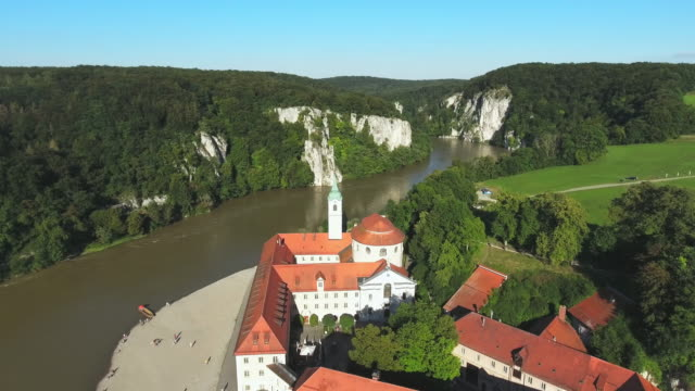 weltenburg abbey on the danube in bavaria - monastery stock videos & royalty-free footage