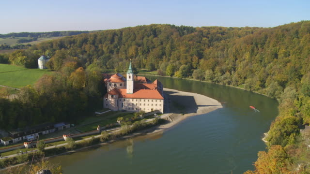 ha weltenburg monastery on danube river in bavaria - river danube video stock e b–roll