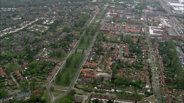welwyn garden city - aerial view - england, buckinghamshire, aylesbury vale, united kingdom - grounds stock videos & royalty-free footage