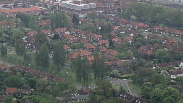 welwyn garden city  - aerial view - england, hertfordshire, welwyn hatfield, united kingdom - grounds stock videos and b-roll footage