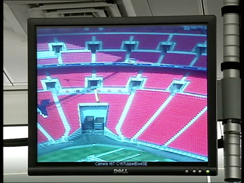 wembley prepares for first fa cup match in new stadium: report on mounted police security; tx 30.4.07 wembley stadium: int various shots of interior... - wembley stock videos & royalty-free footage