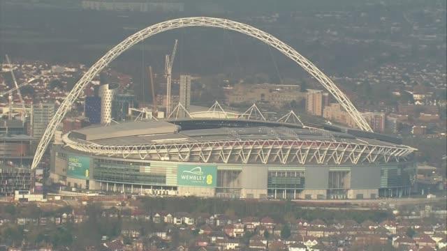 wembley stadium bid; lib / 14.2.2017 london: ext air view / aerial wembley stadium - wembley stadium stock videos & royalty-free footage