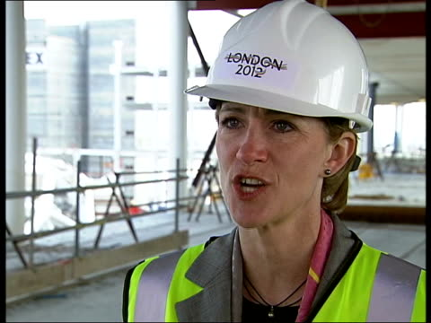 Wembley Stadium construction ahead of schedule ITN London Wembley Barbara Cassani chatting to construction company officials as visiting site of new...