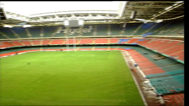 doubts raised over completion before fa cup final wales cardiff millennium stadium ext general views of empty stadium - millennium stadium stock videos & royalty-free footage