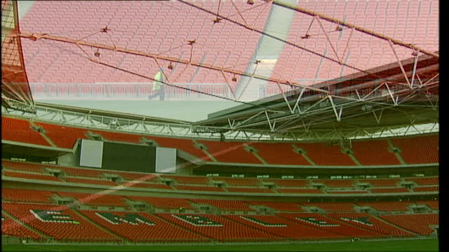 stockvideo's en b-roll-footage met construction will be finished for fa cup final muse to perform in june 2007 general views of stadium - fa cup