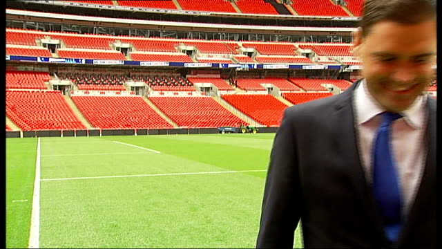 wembley stadium grounds manager prepares for forthcoming finals england london wembley stadium ext variuos of ground staff mowing wembley stadium... - ground staff stock videos & royalty-free footage