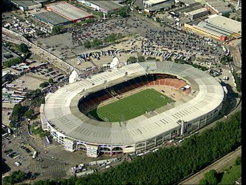 wembley stadium sold for redevelopment; lib england: london: wembley: ext air view wembley stadium tx 13.1.99/ltn - wembley stadium stock videos & royalty-free footage
