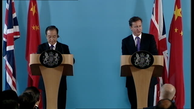 wen jiabao and david cameron joint press conference england london foreign office photography** david cameron mp and wen jiabao into joint press... - human joint stock videos & royalty-free footage