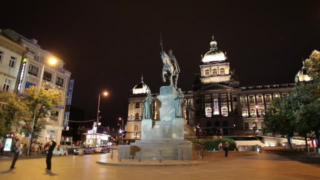 ws wenceslas monument and national museum at night / prague, czech republic - czech culture stock videos & royalty-free footage