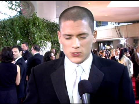 wentworth miller on how it feels to be at the golden globes on working in television vs film at the 2006 golden globe awards arrivals at the beverly... - television awards stock videos & royalty-free footage
