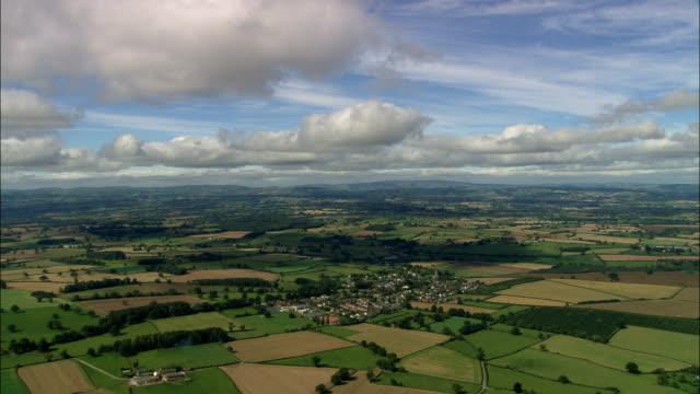 weobly village  - aerial view - england, herefordshire, weobley, united kingdom - herefordshire stock videos & royalty-free footage
