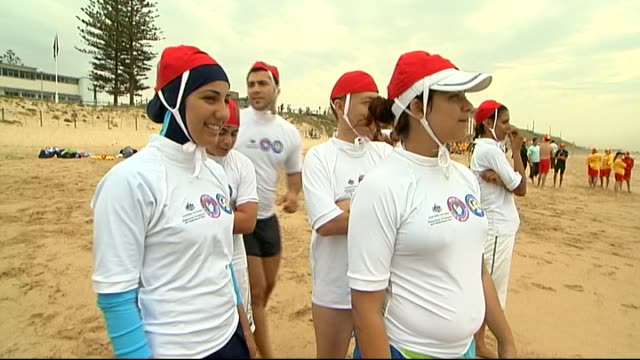 "we're ordinary australians"" / muslim youth surf life saving trainees vs / muslim girls wearing neck to knee gear or burqini / ivcu mecca laalaa /... - youth club stock videos & royalty-free footage"