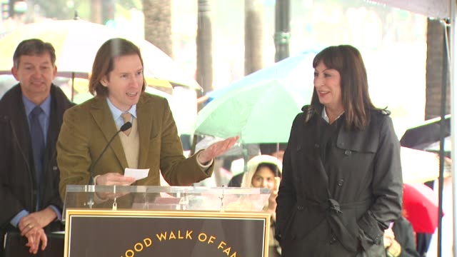 wes anderson and anjelica huston at the anjelica huston honored with a star on the hollywood walk of fame at hollywood ca - walk of fame stock videos and b-roll footage