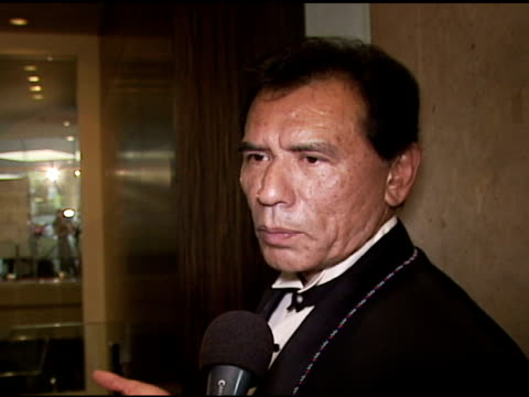 wes studi golden boot award honoree on his award and clint at the the motion picture and television fund's 24th golden boot awards at the beverly... - motion picture & television fund stock videos & royalty-free footage