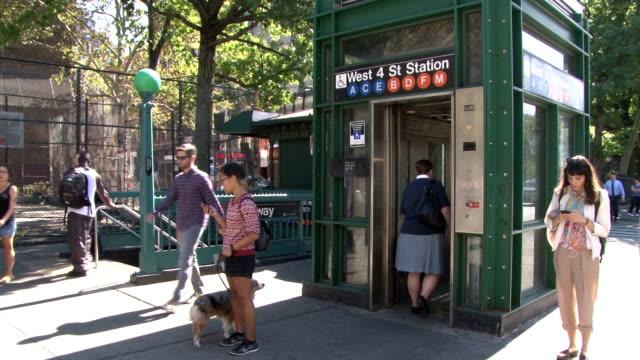 west 4th street subway entrance - greenwich village nyc - scott mcpartland stock videos & royalty-free footage
