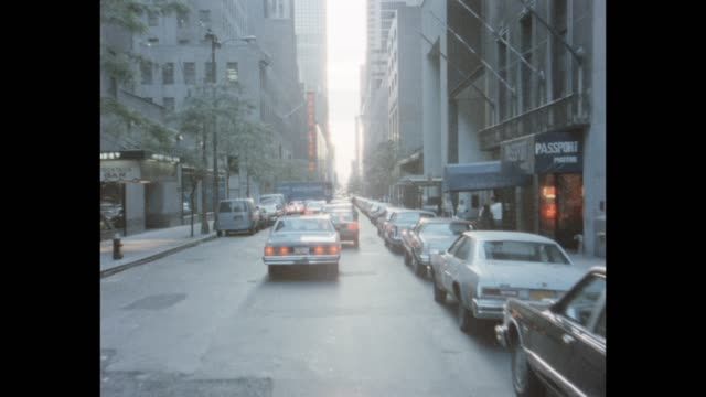 1985 nyc - west 51st street, radio city music hall - rockefeller center video stock e b–roll