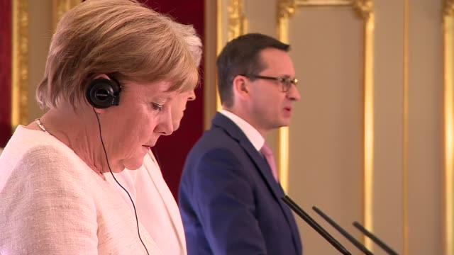 opening press conference cutaways england london lancaster house int cutaways of theresa may mp angela merkel and mateusz morawiecki press conference... - angela merkel stock videos & royalty-free footage
