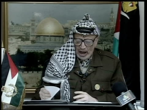 West Bank Ramallah INT Yasser Arafat speech SOT The Arab World is meeting in Lebanon I wanted to be there with them but you all know the circumstance...