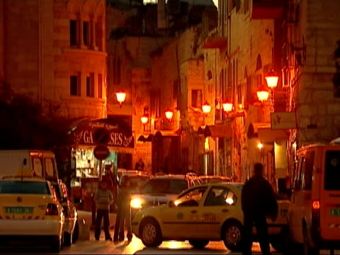 street scenes in nablus / religious buildings in bethlehem bethlehem various general views at sunset of mosque of omar and church of the nativity... - church of the nativity stock videos and b-roll footage