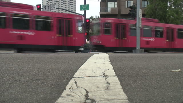 (HD1080i) USA, West Coast, California, San Diego: Red Train Passing
