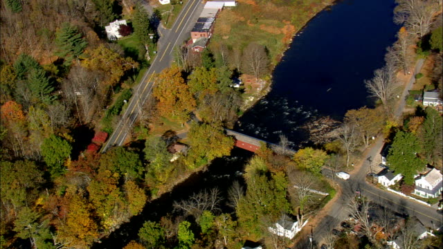 west cornwall covered bridge  - aerial view - connecticut,  litchfield county,  united states - vermont stock videos & royalty-free footage