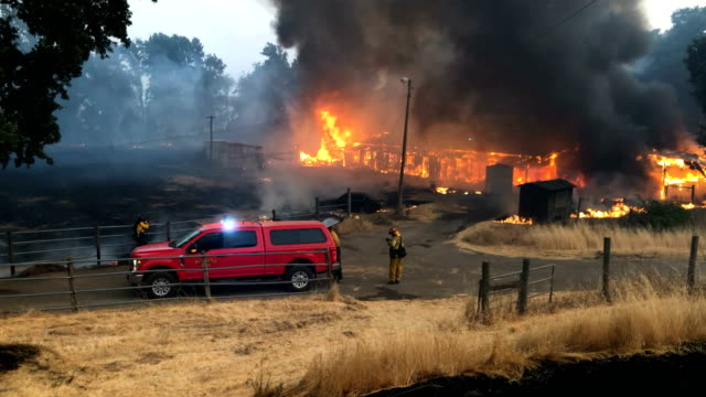 west covina firefighter looks on while a horse barn burns as the river fire moves through the area on july 31, 2018 in lakeport, california. the... - barn stock videos & royalty-free footage