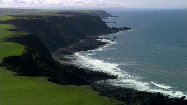 west devon coast  - aerial view - england, united kingdom - devon stock videos & royalty-free footage