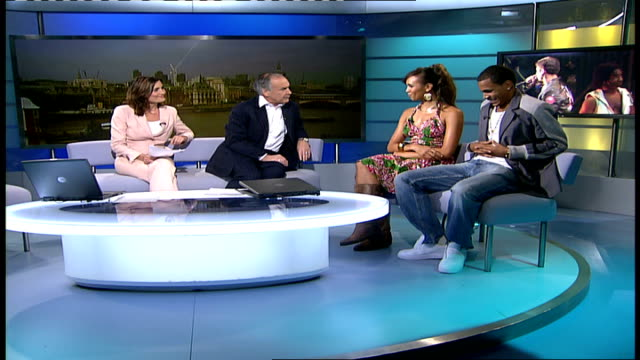 west end musical 'daddy cool' gir javine hilton and harvey studio interview sot on use of boney m songs updated modern version / on delay to the show... - michelle collins actress stock videos & royalty-free footage
