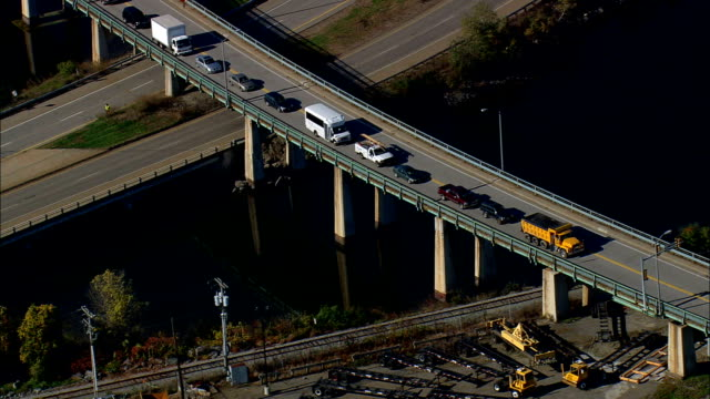 west end of Sarah Mildred long bridge - Aerial View - New Hampshire,  Rockingham County,  United States