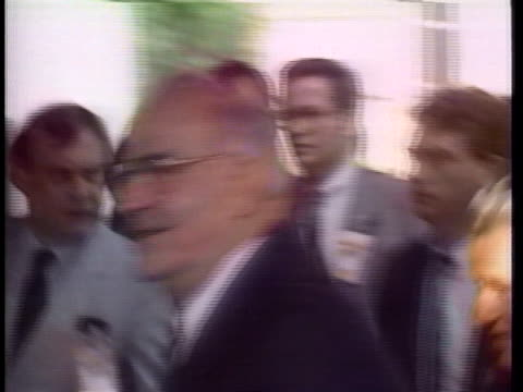 stockvideo's en b-roll-footage met west german chancellor helmut kohl arrives at a nato meeting on arms control - (war or terrorism or election or government or illness or news event or speech or politics or politician or conflict or military or extreme weather or business or economy) and not usa