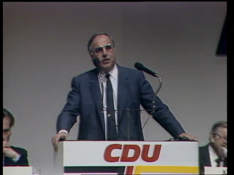 West German elections ITN Koblenz MS Chancellor Helmut Kohl making speech GV Audience