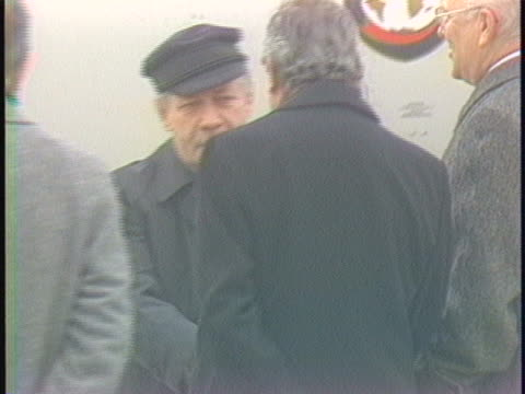 stockvideo's en b-roll-footage met west germany chancellor helmut schmidt deplanes in brussels germany for the upcoming european economic community summit the leaders of ten common... - (war or terrorism or election or government or illness or news event or speech or politics or politician or conflict or military or extreme weather or business or economy) and not usa