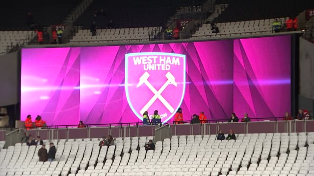 West Ham fans give their verdict on move to new stadium Stratford London Stadium EXT **Music overlaid SOT** West Ham United FC crest on wall West Ham...