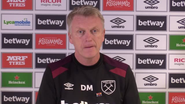 West Ham manager David Moyes gives a press conference ahead of the team's Premier League game against Leicester