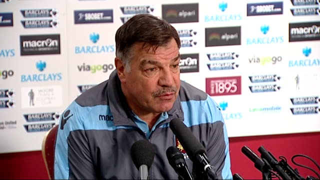 west ham officials promise to identify fans chanting abuse at spurs supporters; england: east london: upton park: int sam allardyce press conference... - sam west stock videos & royalty-free footage