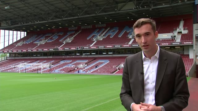 stockvideo's en b-roll-footage met west ham prepare for europa league qualifier; england: london: upton park: ext reporter to camera vox pops reporter to camera - west europa