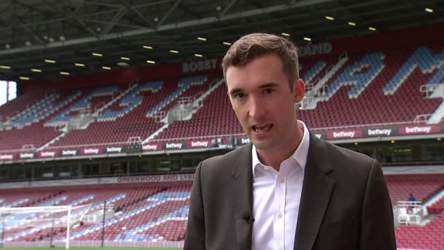 west ham prepare for europa league qualifier upton park reporter to camera - qualification round stock videos & royalty-free footage