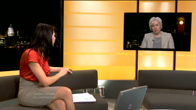 west ham to move into olympic stadium; england: london: gir: int baroness margaret ford live studio interview from westminster sot - 男爵夫人点の映像素材/bロール
