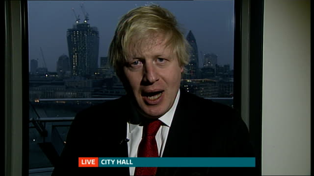 west ham united granted 99 year lease on the olympic stadium england london gir int boris johnson 2 way interview from city hall sot - 賃貸契約点の映像素材/bロール