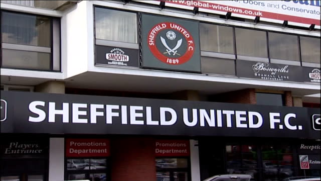 sheffield united to take legal action sign 'sheffield united fc' outside stadium general view of stands pitch and goal inside bramall lane stadium - sheffield stock videos & royalty-free footage