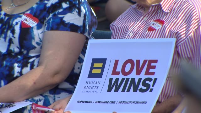 ktla west hollywood celebrates marriage equality on june 26 2015 - west hollywood bildbanksvideor och videomaterial från bakom kulisserna