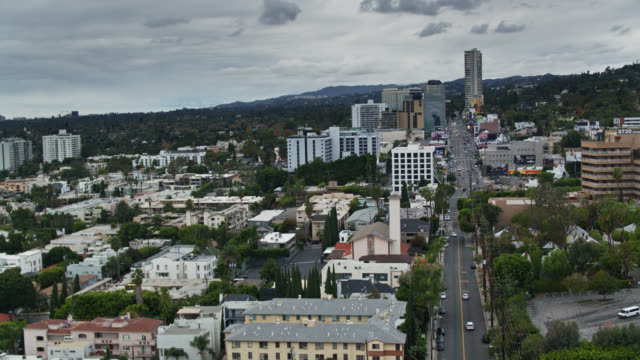 west hollywood on overcast day - aerial - west hollywood stock videos & royalty-free footage