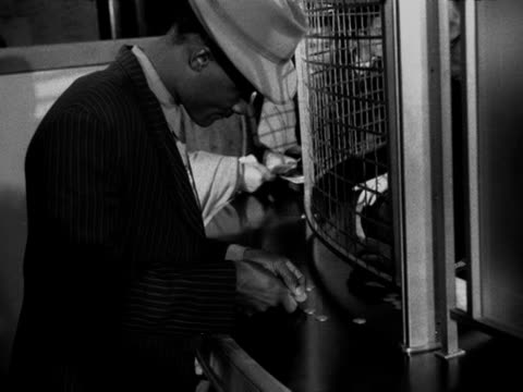 west indian immigrants change their money into sterling as they arrive at southampton docks - southampton hampshire stock-videos und b-roll-filmmaterial