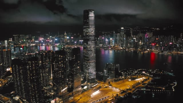 west kowloon, international commerce centre hong kong - victoria harbour hong kong stock videos & royalty-free footage
