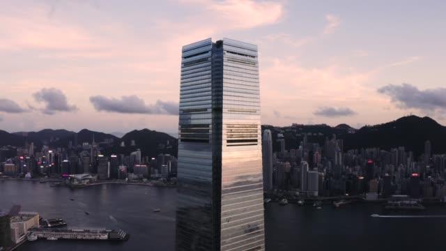 west kowloon, international commerce centre hong kong - hong kong stock videos & royalty-free footage