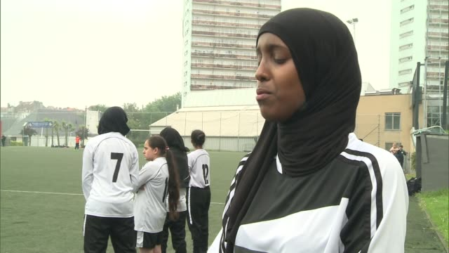 west london football club which helps tackle youth radicalisation visits brussels iqra ismail interview sot dr shamender talwar interview sot - youth club stock videos & royalty-free footage