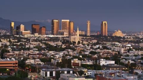 west los angeles and century city - aerial shot - westwood neighborhood los angeles stock videos & royalty-free footage