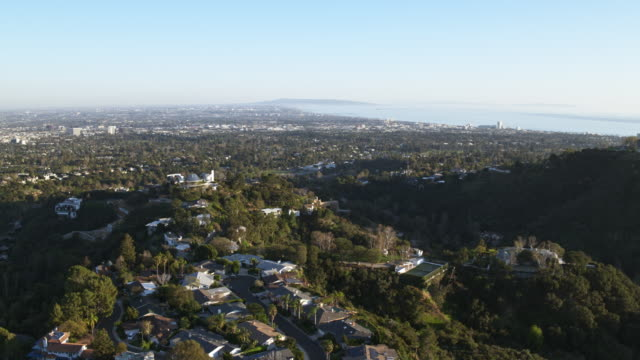 west los angeles, brentwood, santa monica aerial - west hollywood stock videos & royalty-free footage